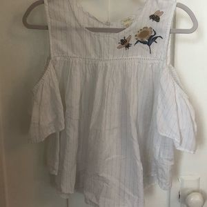 Forever21 cold shoulder cotton top with embroidery